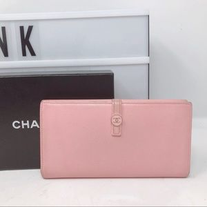 Chanel CC pink leather vintage long Bifold wallet